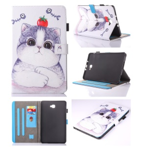 For Samsung Galaxy Tab A 10.1 (2016) T580 T585 Card Holder Leather Tablet Case -