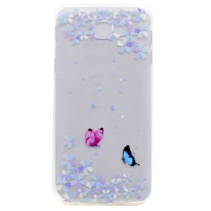 Patterned Clear TPU Mobile Cover for Samsung Galaxy A3 (2017) - Butterflies and Florets