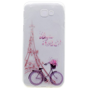 Patterned Clear TPU Gel Back Case for Samsung Galaxy A3 (2017) - Eiffel Tower and Bike