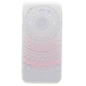 Patterned Clear TPU Phone Accessory Cover for Samsung Galaxy A3 (2017) - Pink Mandala Flower