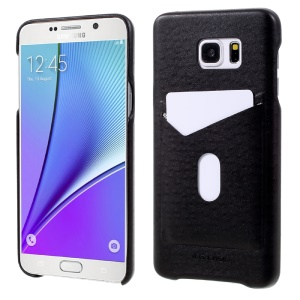 G-CASE Ostrich Texture Leather Coated PC Mobile Case for Samsung Galaxy Note5 N920 with Card Slot - Black