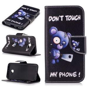 Leather Wallet Mobile Case with Pattern Printing for Samsung A5 (2017) - Bear and Do Not Touch My Phone