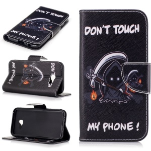Patterned Leather Wallet Phone Case for Samsung Galaxy A5 (2017) - Monster and Do Not Touch My Phone