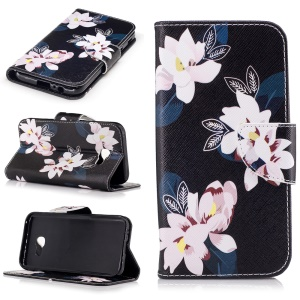 Patterned Leather Wallet Mobile Casing for Samsung Galaxy A5 (2017) - Flowers with Black Background