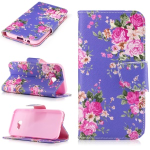 For Samsung Galaxy A5 (2017) Pattern Printing Leather Wallet Case Mobile Accessory - Peony