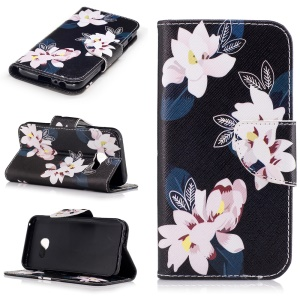 Pattern Printing Leather Wallet Case for Samsung Galaxy A3 (2017) - Pretty Flowers / Black