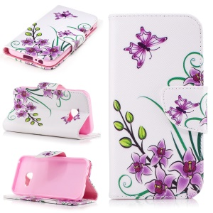 Patterned Leather Wallet Mobile Case for Samsung Galaxy A3 (2017) - Purple Butterfly Flowers