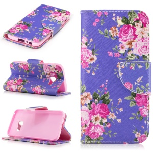 Pattern Printing Leather Phone Case for Samsung Galaxy A3 (2017) - Blooming Peonies