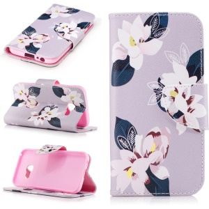 Magnetic Flip Leather Patterned Case for Samsung Galaxy A3 (2017) - Pretty Flowers / Grey
