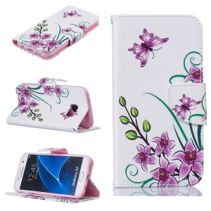 Magnetic Leather Stand Cover for Samsung Galaxy S7 SM-G930 - Purple Flowers