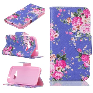 Pattern Printing Leather Wallet Case for Samsung Galaxy J1 (2016) - Vivid Flowers