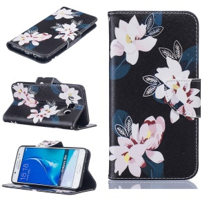 Wallet Leather Stand Case for Samsung Galaxy J5 (2016) SM-J510 - White Flowers