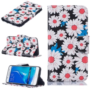 Wallet Leather Protection Case for Samsung Galaxy J5 (2016) SM-J510 - Daisy Flowers