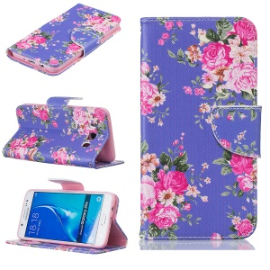 Magnetic Leather Stand Case for Samsung Galaxy J5 (2016) SM-J510 - Vivid Flowers