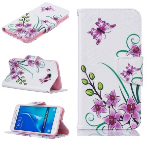 Wallet Leather Protective Case for Samsung Galaxy J5 (2016) SM-J510 - Purple Flowers