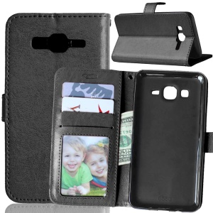 Magnetic Leather Case with ID/Credit Card Slots for Samsung Galaxy On5 - Black