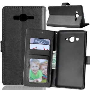 PU Leather Phone Case with ID/Credit Card Slots for Samsung Galaxy On7 - Black