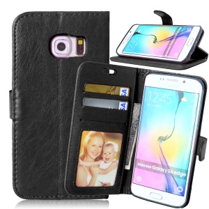 3 Card Slots Wallet Leather Phone Case for Samsung Galaxy S6 edge G925 - Black