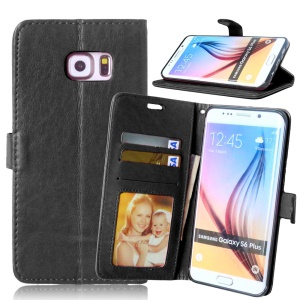 3 Card Slots Wallet Stand Leather Case for Samsung Galaxy S6 edge Plus G928 - Black