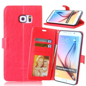 3 Card Slots PU Leather Wallet Case Stand for Samsung Galaxy S6 edge Plus G928 - Red