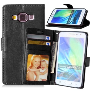Crazy Horse Leather Wallet Case for Samsung Galaxy A3 SM-A300F - Black
