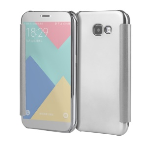Plated Mirror Surface PC Leather Smart Mobile Shell para Samsung Galaxy A5(2017) - prata