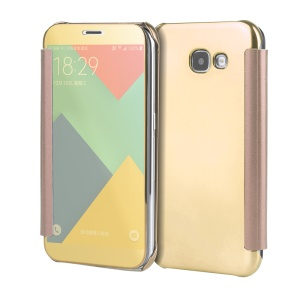 Wake Sleep Electroplating Mirror Surface PC Housse en cuir pour Samsung Galaxy A5(2017) - Or