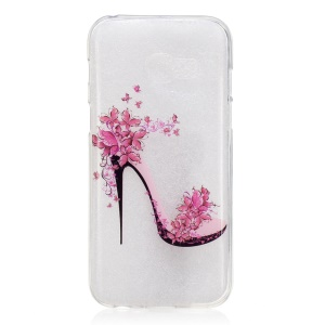 IMD Pattern Printing TPU Shell Casing for Samsung Galaxy A3 (2017) - High-heeled Shoe with Flowers
