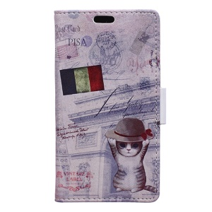Pattern Printing Leather Wallet Case for Samsung Galaxy J3 Emerge/J3 Prime/J3 (2017) - French Flag and Cat in Hat