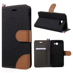 England Style Jean Cloth Leather Card Holder Cell Phone Case for Samsung Galaxy J5 (2017) - Black