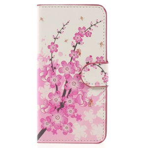 Patterned Leather Wallet Protective Cover for Samsung Galaxy J2 Prime / Grand Prime Plus - Plum Blossom