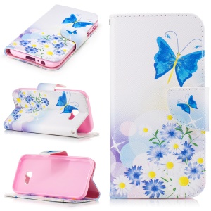 For Samsung Galaxy A5 (2017) Patterned Leather Wallet Mobile Stand Case - Flowers and Blue Butterflies