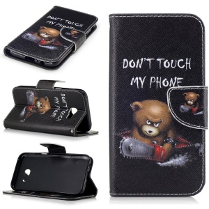 For Samsung A5 (2017) Patterned Magnetic Leather Card Holder Case - Bear and Do Not Touch My Phone