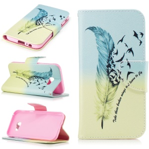 For Samsung Galaxy A5 (2017) Patterned Leather Wallet Flip Stand Cover - Feather and Birds
