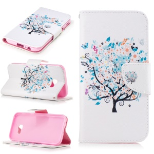 Patterned Leather Wallet Folio Stand Phone Case for Samsung Galaxy A5 (2017) - Floral Tree