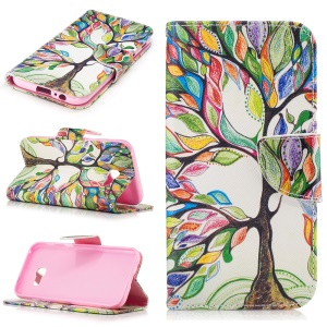 Patterned Leather Wallet Mobile Casing for Samsung Galaxy A5 (2017) - Colorful Tree