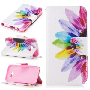 Patterned Leather Wallet Cell Phone Case with Stand for Samsung Galaxy A5 (2017) - Colorful Petals