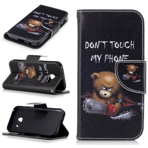 Patterned Leather Wallet Flip Cover for Samsung Galaxy A3 (2017) - Angry Bear and Warning Words