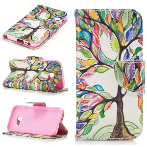 Patterned Leather Wallet Flip Case for Samsung Galaxy A3 (2017) - Colored Tree
