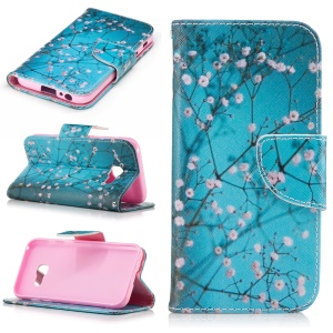 Patterned Leather Wallet Flip Case for Samsung Galaxy A3 (2017) - Pink Floret