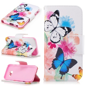 Patterned Leather Wallet Flip Case for Samsung Galaxy A3 (2017) - Colorized Flowers and Butterflies