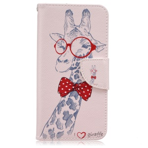 Wallet Patterned Leather Mobile Case for Samsung Galaxy J5 (2016) SM-J510 - Giraffe with Red Glasses