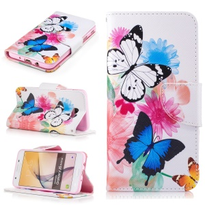 Wallet Leather Stand Case for Samsung Galaxy J5 Prime/On5 2016 - Butterfly Pattern