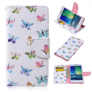 Patterned Leather Wallet Shell for Samsung Galaxy A5 SM-A500F - Many Colorful Butterflies