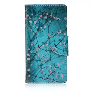 Patterned Leather Wallet Phone Casing for Samsung Galaxy A5 SM-A500F - Pink Floret