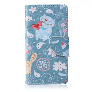 Patterned Leather Wallet Smartphone Case for Samsung Galaxy A5 SM-A500F - Adorable Cat