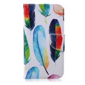 Printing Pattern Leather Wallet Cover for Samsung Galaxy J7 SM-J700F - Colorful Feathers