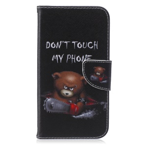 Patterned Leather Phone Case for Samsung Galaxy J7 SM-J700F - Angry Bear and Warning Words