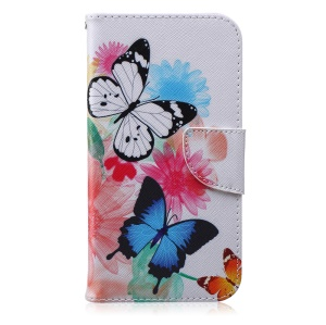 Wallet Patterned Leather Mobile Case for Samsung Galaxy J7 SM-J700F - Butterflies and Flowers