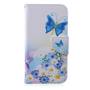 Wallet Stand Patterned Leather Case for Samsung Galaxy J7 SM-J700F - Blue Butterfly and Daisies